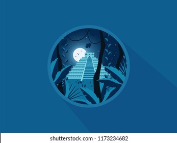 Maya pyramid old mexican stone ruin. Vector flat illustration. Icon.