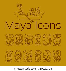 maya religion icon, maya god symbols, Mexican religion icon, Mexican cultural, cacao icon.