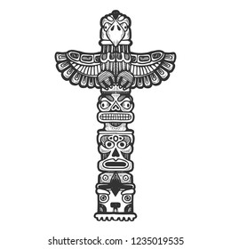 Maya totem religious symbol of ancient civilization engraving vector illustration. Scratch board style imitation. Black and white hand drawn image.