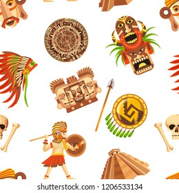Maya traditional attributes and ancient priceless relics seamless pattern.
