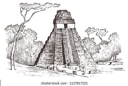 Maya Vintage pyramid. Aztec culture. Ancient Monochrome Mexico. Landscape for label logo badge background. Engraved hand drawn old sketch. vector illustration.