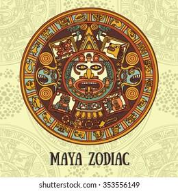 Maya zodiac, card with ethnic ornament, vector illustration