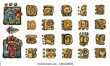 Mayan alphabet. Ancient mexican mesoamerican glyphs, hieroglyphics. Maya civilization collection. Old school tattoo style