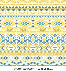 Mayan american indian pattern tribal ethnic motifs geometric vector background. Impressive native american tribal motifs textile print ethnic traditional design. Mayan clothes pattern design.