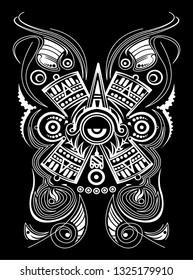 Mayan Aztec Concept Stylized Symbol Vector illustration, Tattoo Tribal Style