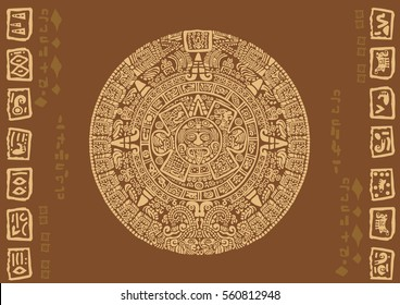 Mayan calendar. Images of characters of ancient American Indians.The Aztecs, Mayans, Incas.