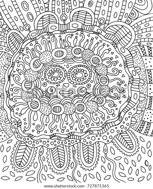 mayan face doodle coloring page 600w