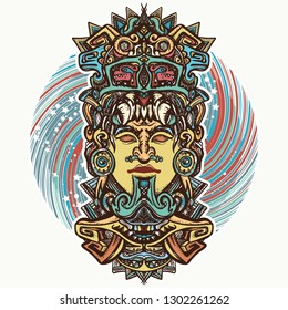 Mayan god. Tattoo and t-shirt design. Ancient aztec totem carved in stone