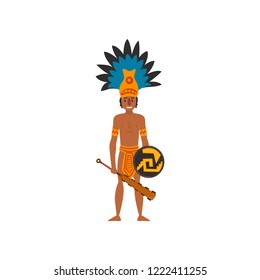 Mayan Indian, Maya civilization character, American tribal culture element vector Illustration on a white background