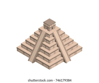 Mayan pyramid. Isolated on white background. 3d Vector illustration. Isometric projection.