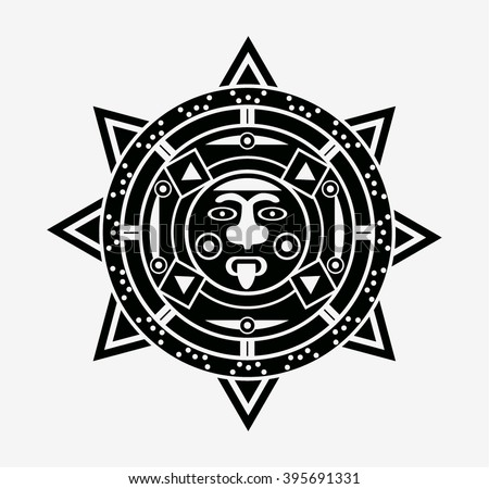 Mayan Sun Icon Symbol Stock Vector Royalty Free 395691331