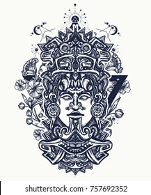 Mayan tattoo and t-shirt design. Ancient aztec totem and art nouveau flowers, Mexican god