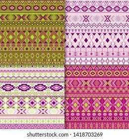Mayan tribal ethnic motifs geometric patterns set. Bohemian tribal motifs clothing fabric textile ethno prints traditional design. South american folk fashion prints.