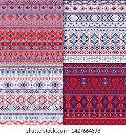 Mayan tribal ethnic motifs geometric patterns set. Unusual tribal motifs clothing fabric textile ethno prints traditional design. Native american folk fashion prints.
