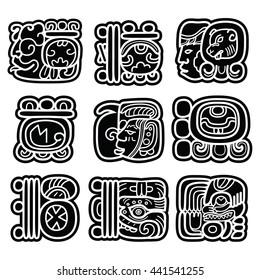 Mayan writing system, Maya glyphs and languge vector design