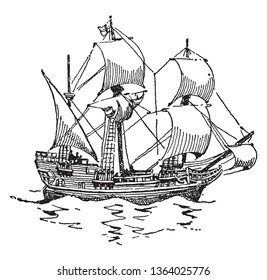 The Mayflower was an English ship which transported the pilgrims to America,vintage line drawing or engraving illustration.