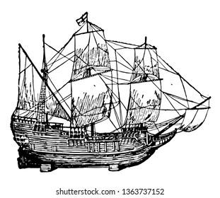 Mayflower in Plymouth harbor 1882 owned by Christopher jones vintage line drawing.