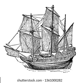 Mayflower was a ship with a beakhead bow and castle like structures with a 30 feet high stern vintage line drawing.