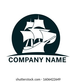 mayflower ship boat logo vector