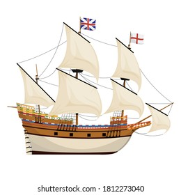 The Mayflower ship. Pilgrim ship. Cartoon vector illustration for Thanksgiving day holiday.