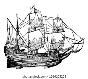 Mayflower was a ship which is a cultural icon in the history of US vintage line drawing.