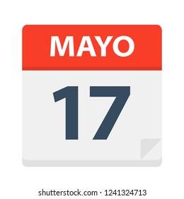 Mayo 17 - Calendar Icon - May 17 - Vector Illustration