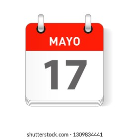 Mayo 17, May 17 date visible on a page a day organizer calendar in spanish Language