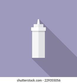 Mayonnaise  bottle flat icon. Modern flat icons with long shadow effect in stylish colors. Icons for Web and Mobile Application. EPS 10.