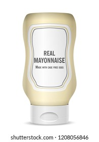 Mayonnaise bottle on a white background. Vector illustration.