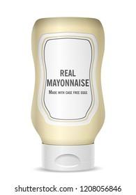 Mayonnaise bottle on a white background. Vector illustration.