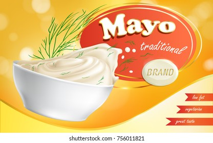 Mayonnaise brand in a plate with a low fat content and text next to it in a realistic style, vector illustration. Advertisement, sample, template.