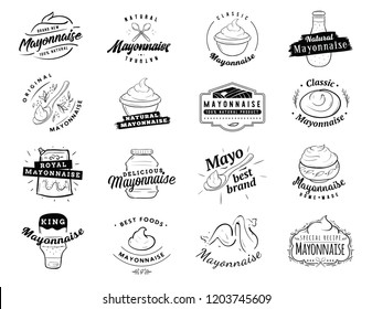 Mayonnaise typography. Logo design. Sauce in bottles and bowls.