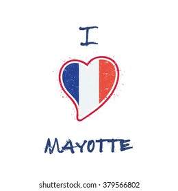 Mayotte Flag Patriotic T Shirt Design Heart Shaped National Of On White