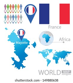 Mayotte map. France. flag. World Map. vector Illustration.