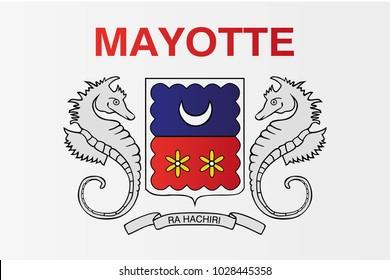 Mayotte national flag. Department of Mayotte vector illustration symbol.