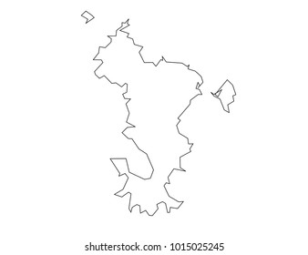mayotte outline map. detailed isolated vector country border contour map on white background.