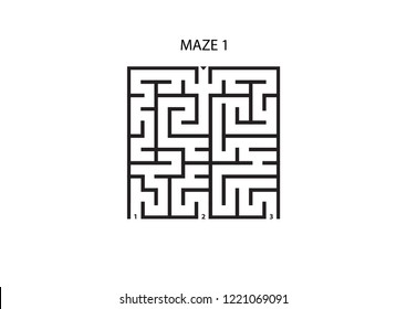 Maze 1 with three possible outcomes and one correct answer on white background