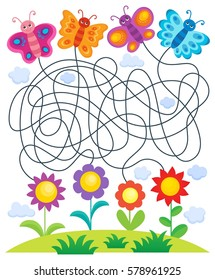Maze 24 with butterflies and flowers - eps10 vector illustration.
