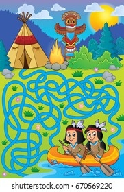 Maze 26 with Native Americans in boat - eps10 vector illustration.