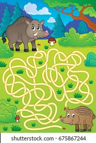 Maze 29 with wild pigs - eps10 vector illustration.