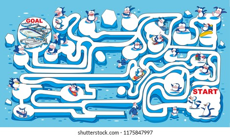 Maze _ penguins and fish