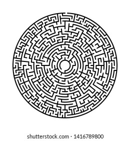Maze in abstract style. Labyrinth game. Black maze circle. Black labyrinth. Maze symbol. Labyrinth isolated on white background.