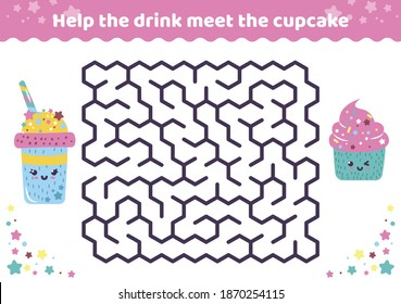 Maze Activity Page with funny desserts. Games for kids find a way