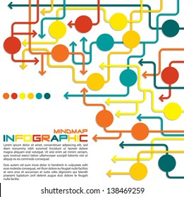 Maze of arrows info graphic/mindmap/flowchart in vector format.