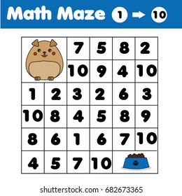 Maze children game: help the dog go through the labyrinth and find food. Kids activity sheet. Maze game, animals theme. Kids activity sheet. Mathematics game with numbers. Counting from one to ten