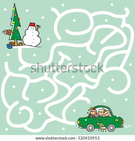 Maze Children Going Christmas Tree Game Stock Vector Royalty Free
