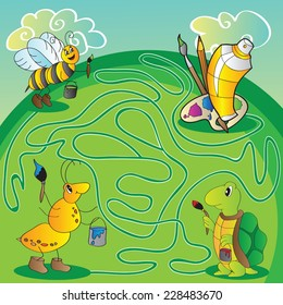 Maze for children - help the turtle, ant, bee get to paints and brushes for painting - vector