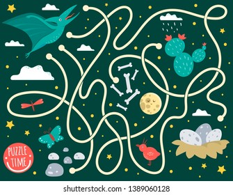 Maze for children. Preschool activity with dinosaur. Puzzle game with pterodactyl, clouds, eggs in nest, bones, butterfly, bird, moon, star. Cute funny smiling characters.