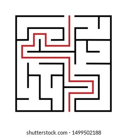 Maze. Education logic game labyrinth for kids. Find right way. Isolated simple square maze black line on white background. With the solution. Vector illustration.