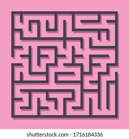 Maze. Education logic game labyrinth for kids. Find right way. Isolated simple square maze black line on pink background. Vector illustration.
